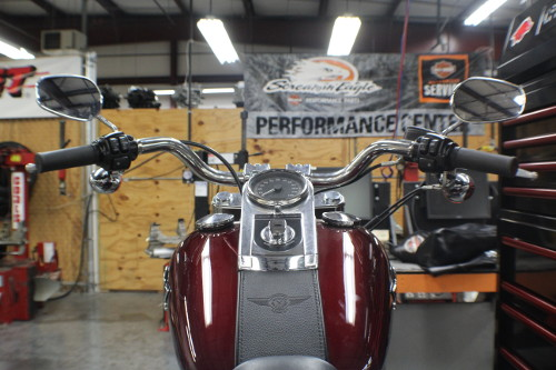 A Harley-Davidson bike, viewed from the driver's seat.