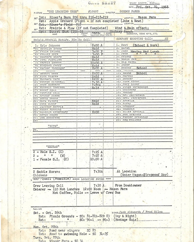 picture of the cast call sheet