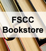 An image of books with the words 'FSCC Bookstore' displayed over them.