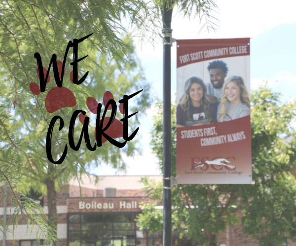 "picture of FSCC campus with a banner ad with three fscc students in the picture with ""We Care"" and paw prints to the left"