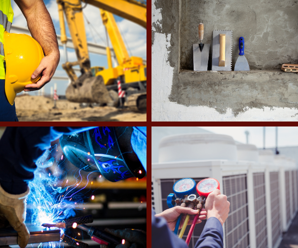 collage picture with a construction crew with hard hats in the top left corner, masonry equipment in the top right corner, a person checking HVAC levels in the bottom right corner, and a person welding in the bottom left corner