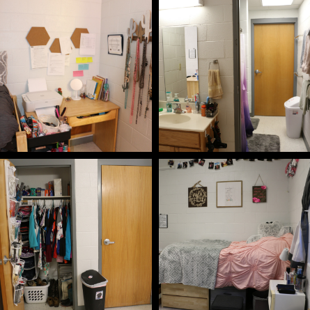 picture collage of a dorm room. top left is a picture of a desk in the corner, top right is a picture of the bathroom, bottom left is a picture of the closet, bottom left is a picture of the bed.