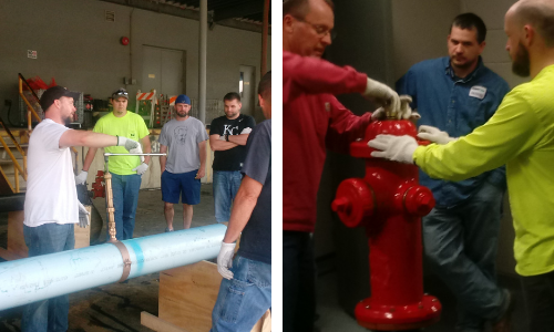picture on the left is students learning about water commercial pipes and the right picture is students learning about hydrants