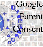 "blue icons representing different Google applications with ""Google Parent Consent"" written to the right"