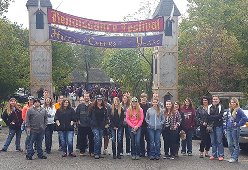TRIO students all gathered outside the Renaissance Festival, ready to enjoy themselves in the festivities.