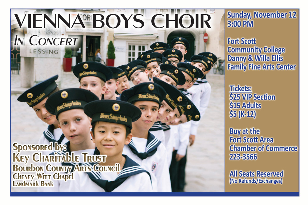A poster of the Vienna Boys Choir event showing the boys that will be performing and information about the event.
