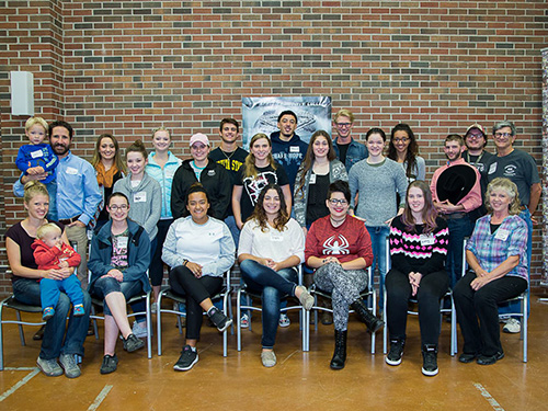 A group photo of the Christians on Campus members and sponsors.