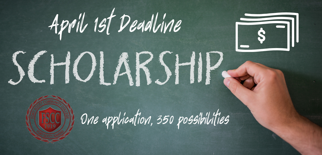 "someone writing on a chalkboard ""scholarship"" with ""April 1st deadline"" written at the top, a dollar clipart in the top right corner, fscc symbol in the bottom left, and ""one application, 350 possibilities"" written at the bottom"