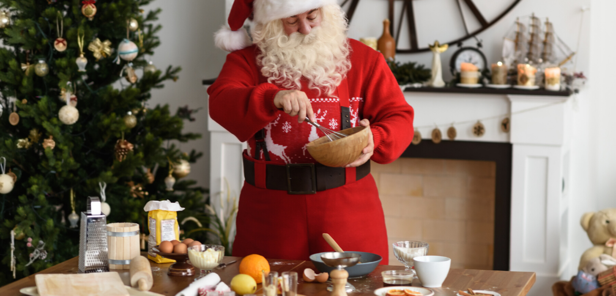 picture of santa making breakfast