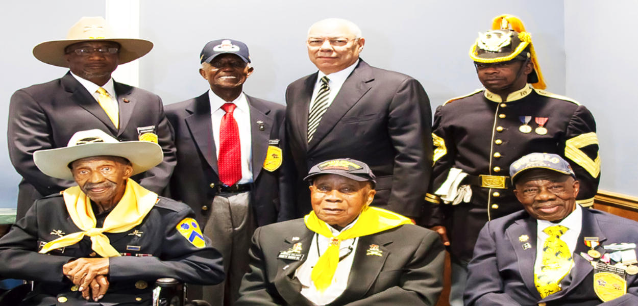 a group picture of men in uniform from the Buffalo Soldiers