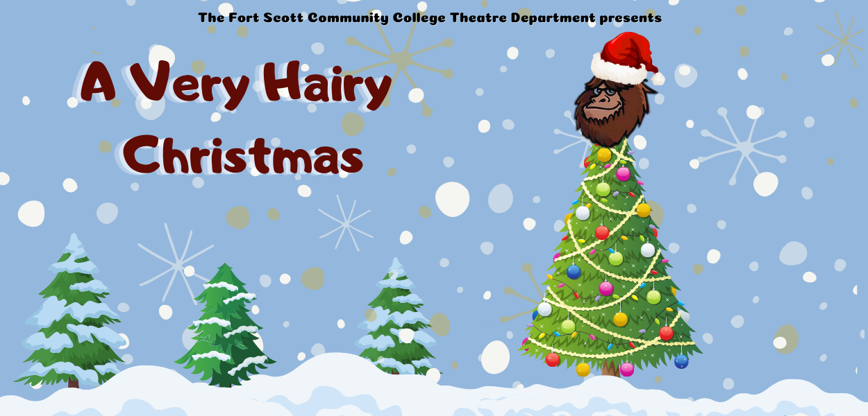"""a picture of snow, christmas trees, one tree with decorations and big foot's head as the star with """"a very hairy christmas"""" written at the top"""