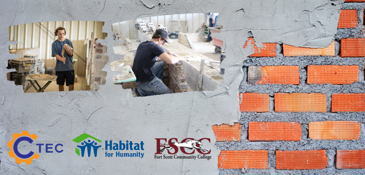 brick background with two masons pictured. ctec, habitat for humanity, and fscc logo at the bottom