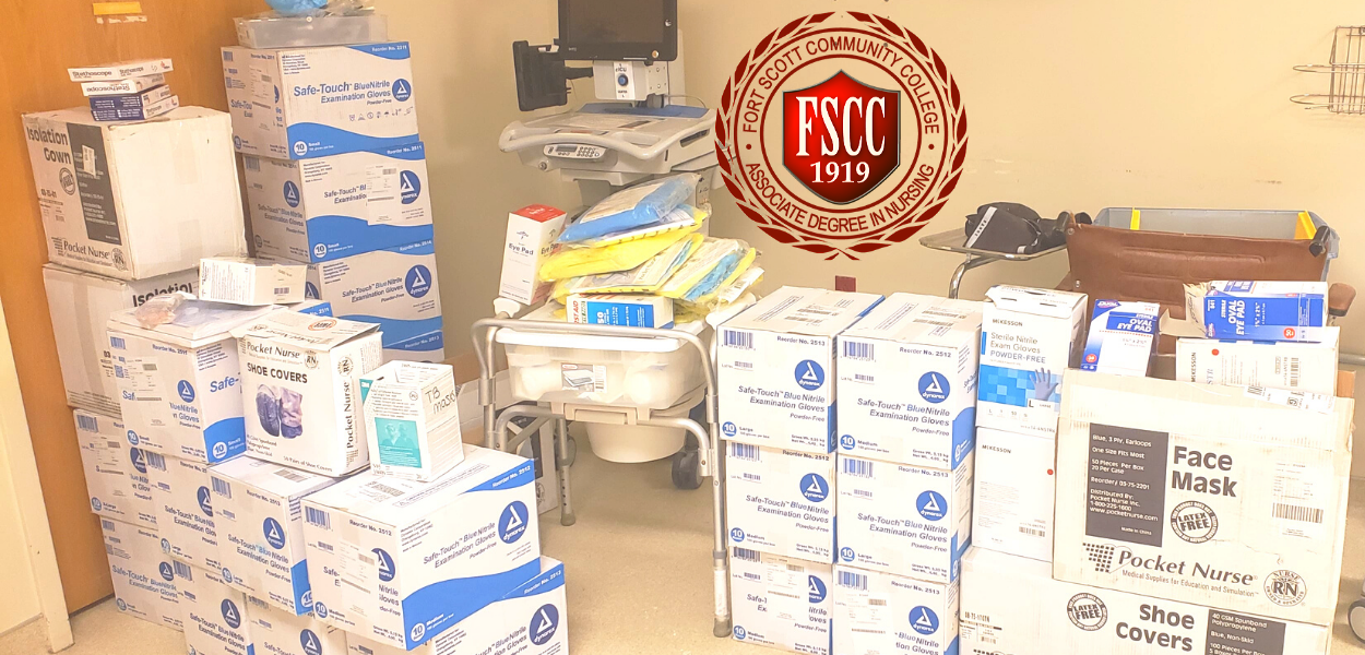 picture of boxes of medical supplies with the FSCC Nursing seal at the top middle