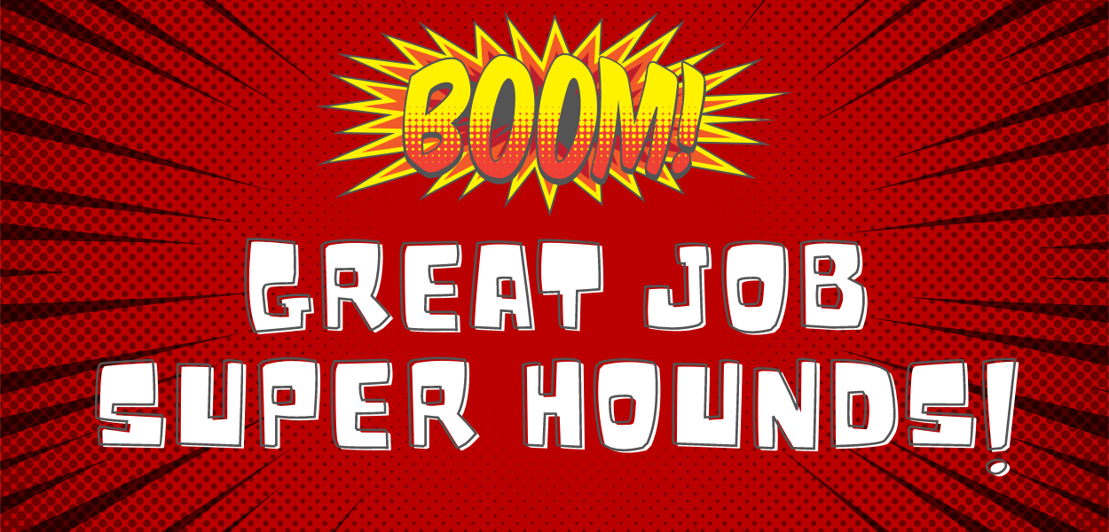 """red blast background with """"boom"""" written at the top and """"Great job super hounds"""" written in the middle"""
