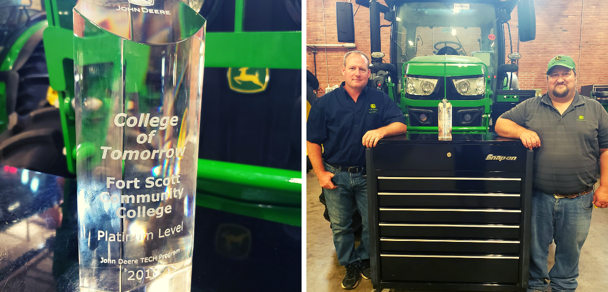 "on the left is a picture of the ""College of Tomorrow"" crystal award. on the right is a picture of the two John Deere instructors"