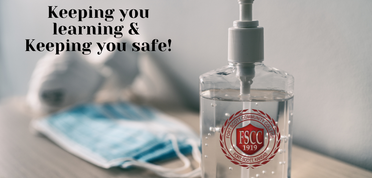 "picture of hand sanitizer, surgical masks, and N95 masks with ""Keeping you learning and keeping you safe"" written at the top left corner"