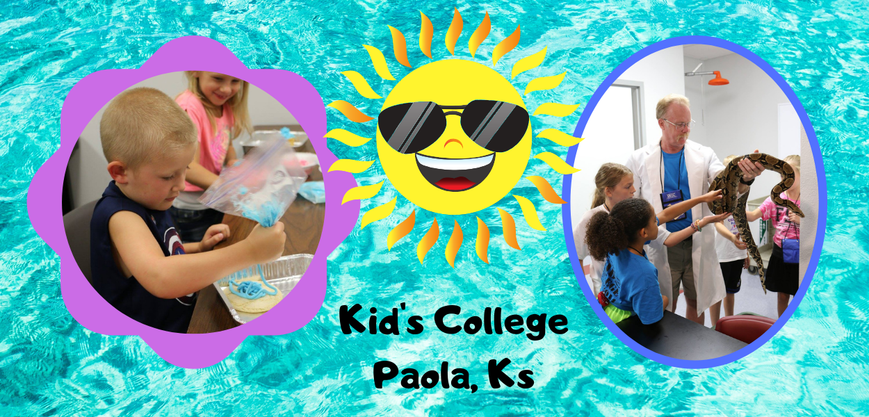 "a blue background with a picture of a kid decorating a cake on the left and a picture of an instructor with a snake on the right, a sun with sunglasses on in the middle, and ""kid's college paola ks"" at the bottom"