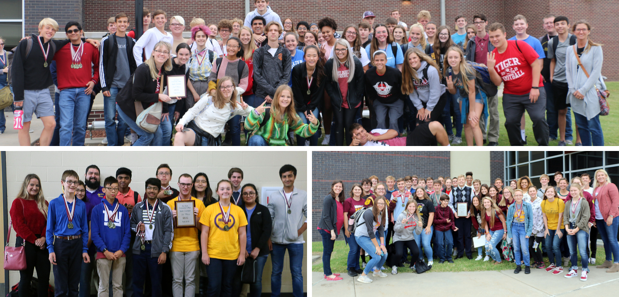 three group pictures of math relay students. top picture is a group picture of FSHS, bottom left is Thomas Jefferson school, bottom right is Girard school