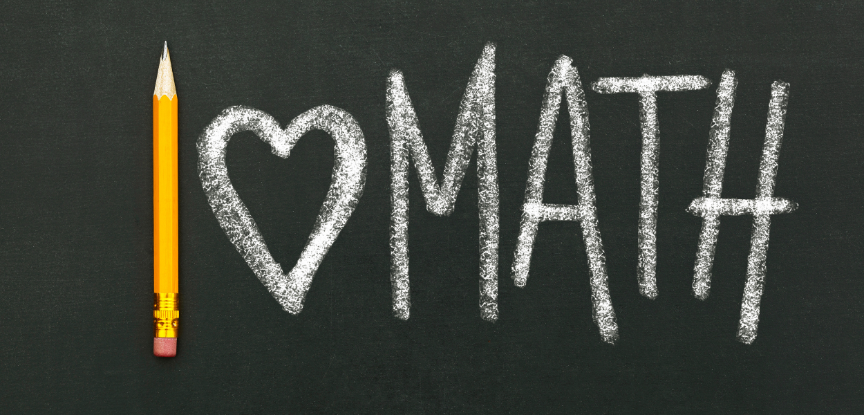 """picture of a chalkboard with """"i love math"""" written on it"""