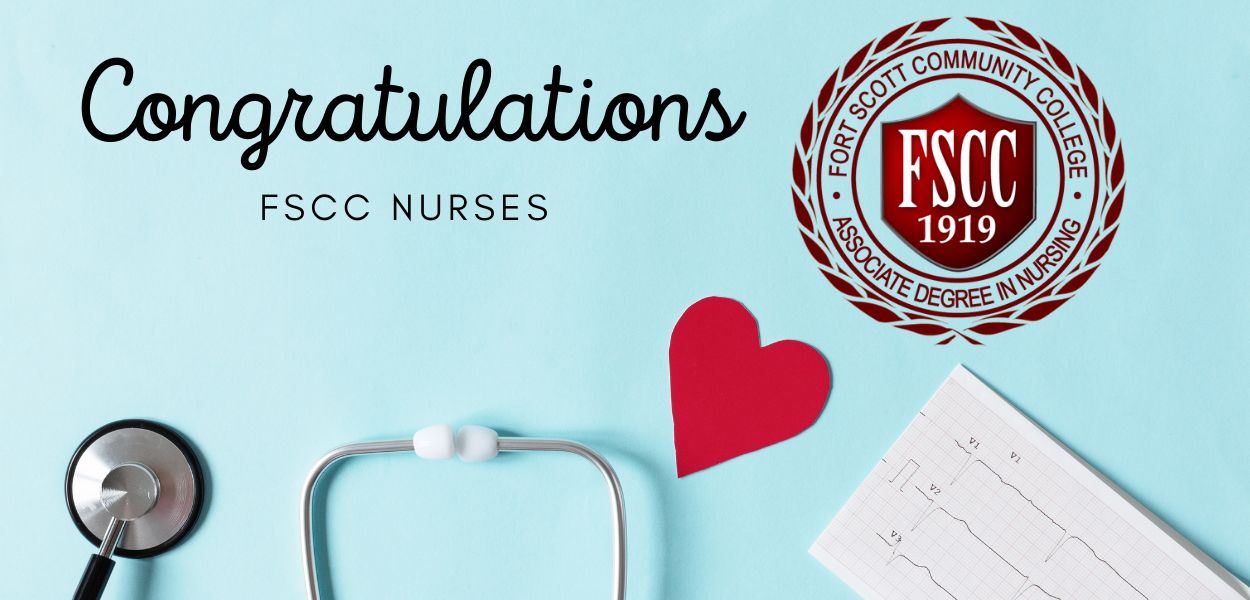 """picture of a stethoscope, a heart, and nursing page with the fscc nursing logo in the top right corner and """"congratulations fscc nurses"""" in the top left"""