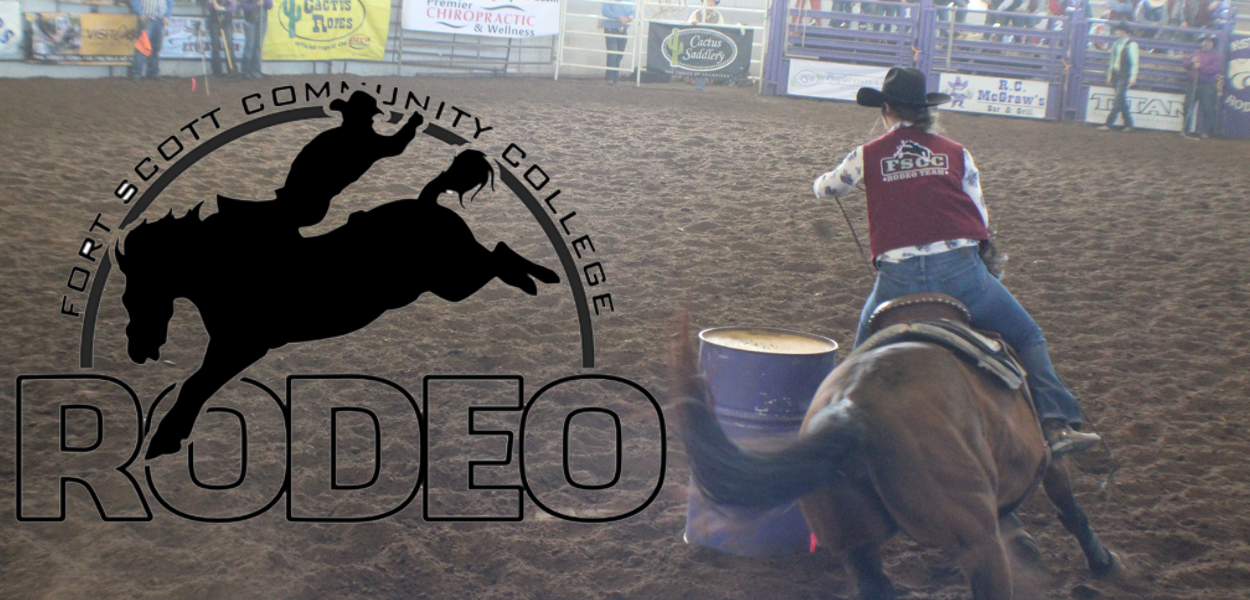 FSCC rodeo logo to the left and picture of a FSCC rodeo athlete barrel racing