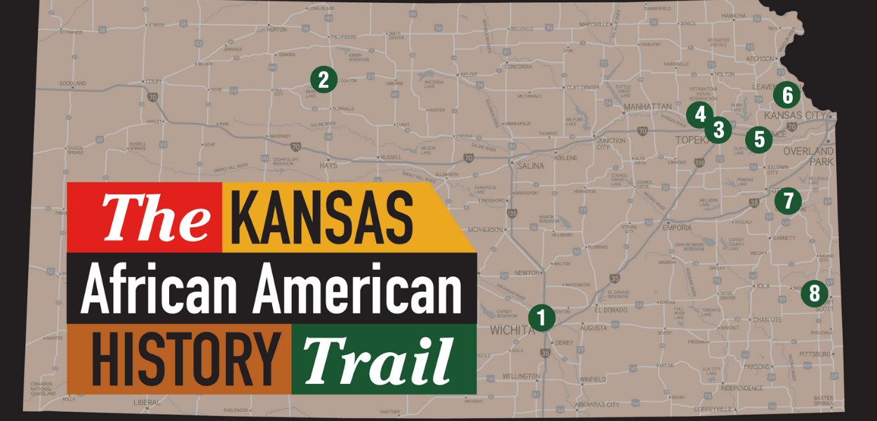 "a map of Kansas with ""The Kansas African American History Trail"" written in the left corner and various numbered areas throughout the map"