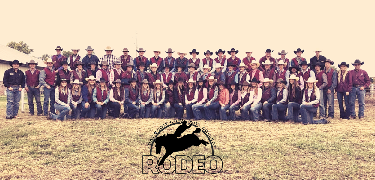 group shot of the rodeo team with the rodeo logo in the bottom center of the picture