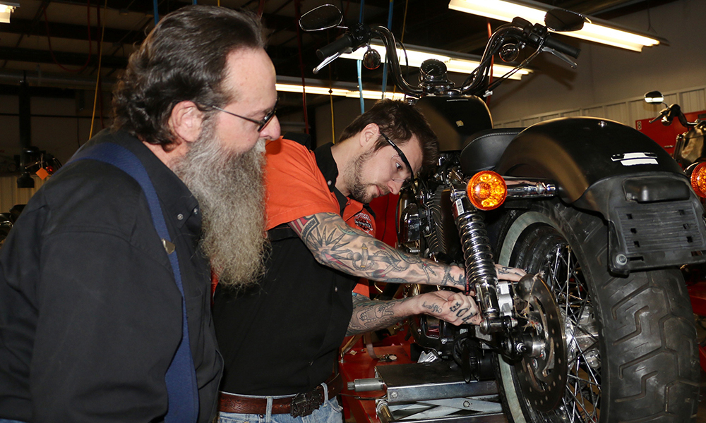 Harley Davidson student and instructor