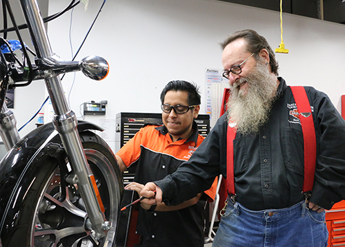 harley student with instructor