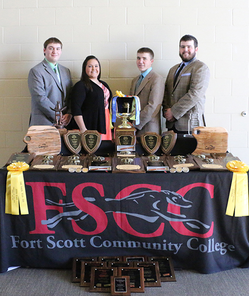 FSCC's Meat Judging team posing together with their trophies.