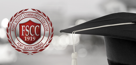 black and white picture of a graduation cap offset to the right with the FSCC seal on the left