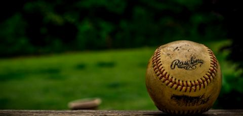 A baseball resting on a wooden fence.