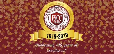 """a red background with gold stars on it displaying the centennial symbol with """"Celebrating 100 years of excellence"""" at the bottom"""