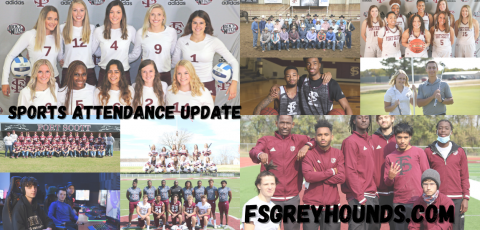 """collage of all the sports teams with """"sports attendance update"""" and """"fsgreyhounds.com"""" written on it"""