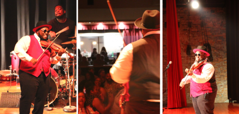three different photos of dominique hammons performing at the liberty theatre