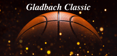 "picture of a basketball with a black background and gold confetti with ""Gladbach Classic"" written at the top in white"