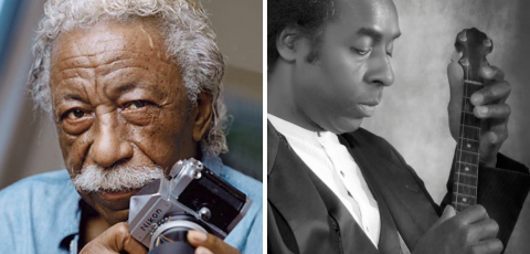 picture of Gordon Parks holding a camera on the left and a picture of Lem Sheppard holding a guitar on the right