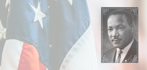 picture of the American flag with Martin Luther King Jr. picture on the right