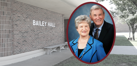 background picture of bailey hall and a picture of robert and sylvia bailey on the right