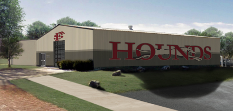 "mock up picture of what the new athletic facility will look like. a building with ""hounds"" on the side of it"