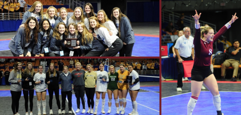 collage of pictures from volleyball nationals. three photos total. students holding awards and posing for the camera